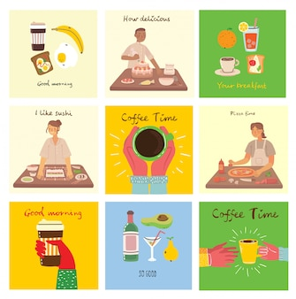 Set of cards with food, coffee, breakfast, pizza, sushi, cake and with hand written text, simple flat colorful illustration