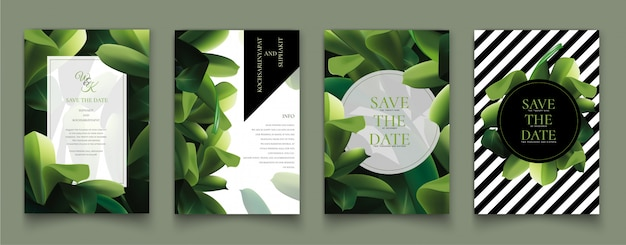 Set of cards with the green leaves.