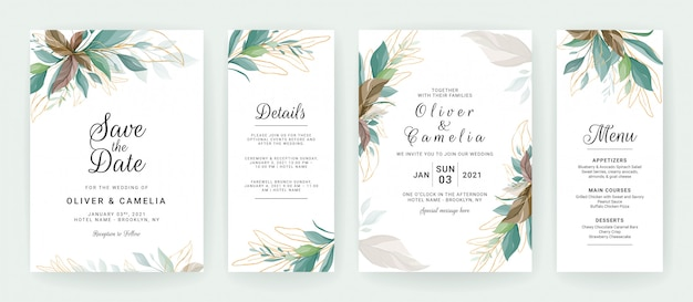 Set of cards with greenery decoration. floral wedding invitation template design of tropical and glitter leaves