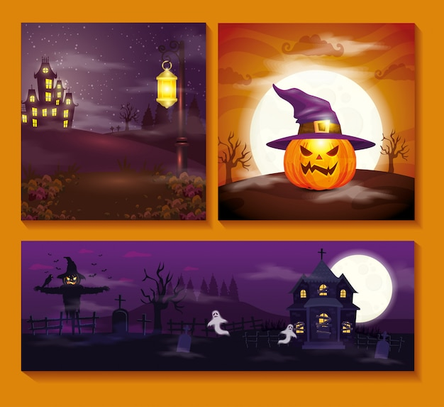 Set cards with halloween scenes