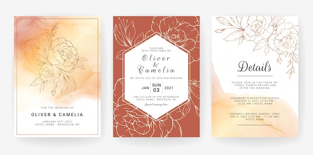Set of cards with line art floral. wedding invitation template design of luxury gold flowers and leaves with watercolor background