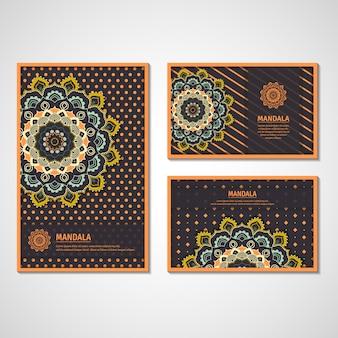 Set of cards with mandala.