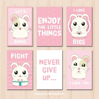 Set of cards with messages and hand drawn hamster