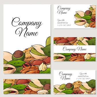 Set of cards with nuts and seeds