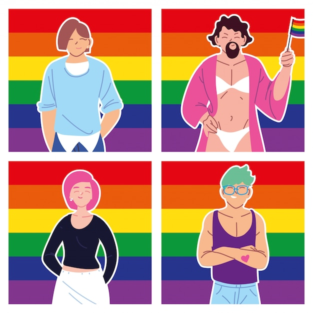 Set of cards with people and lgbtq pride flag