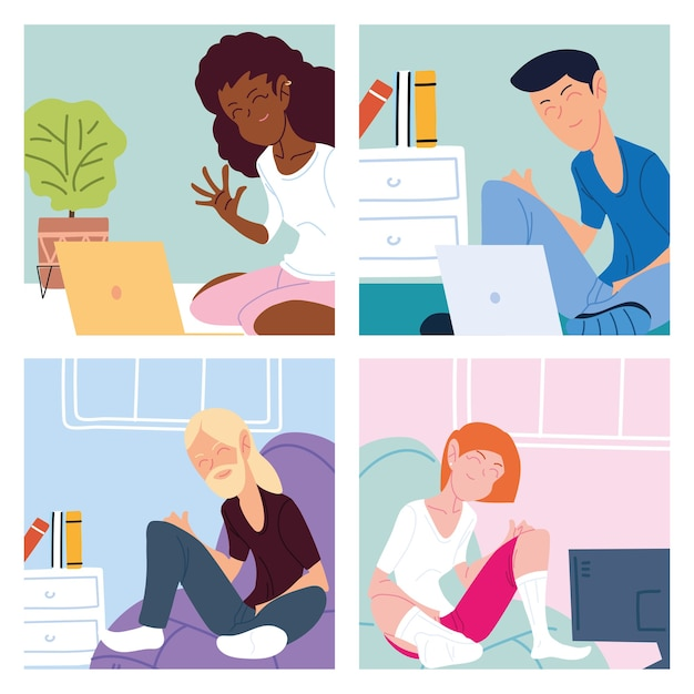 Set of cards with people working from home illustration