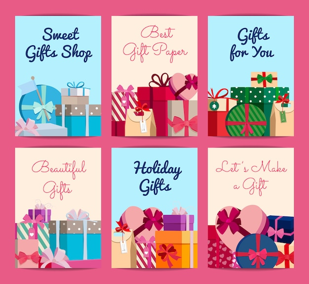 Set of cards with piles of gift boxes with place for text. gift box card for holiday christmas