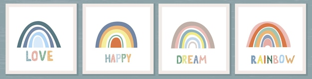 Set of cards with rainbow and sun in boho style