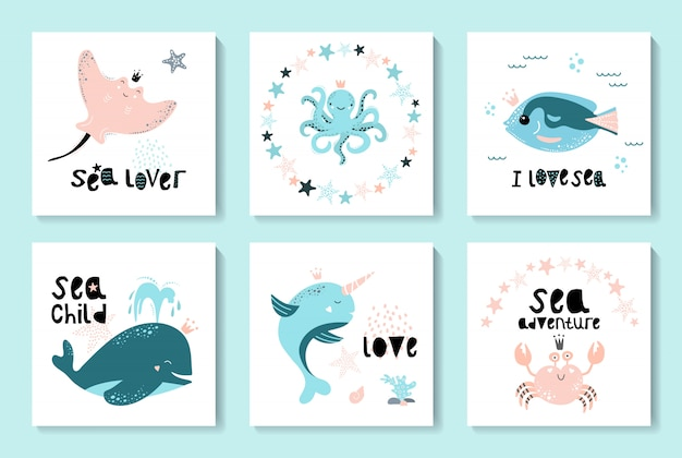 A set of cards with sea animals and seafood