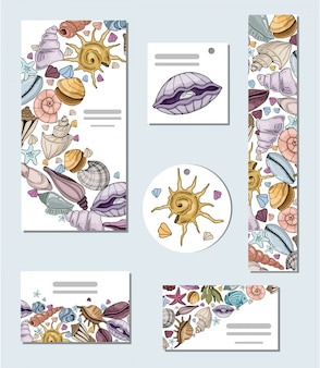 Set of cards with seashells