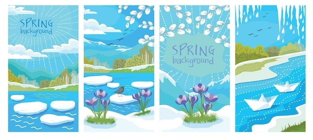 A set of cards with spring landscapes: birds, icicles, ice drift, snowdrops..