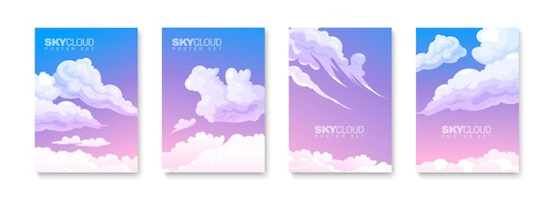 Set of cards with sunset skies and fluffy clouds