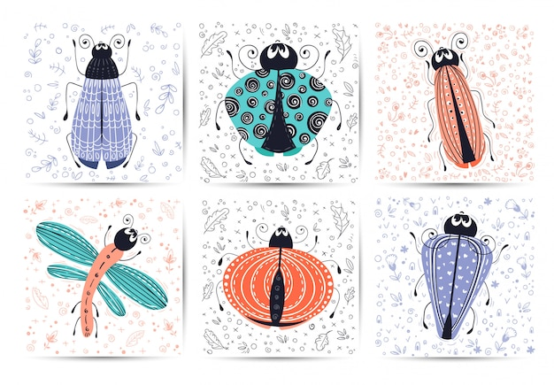 Set of cards with vector cartoon bug or beetle, flat