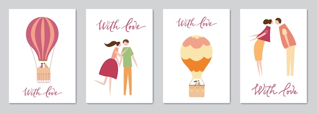 Set of cards with vector illustration of couple in love and lettering. silhouette of romantic people