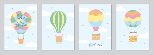Set of cards with vector illustration of landscape with hot air balloons in sky