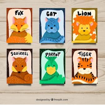 Set di carte con animali selvatici