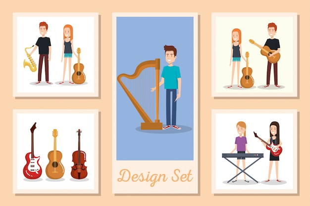 Set of cards of young people with musical instruments
