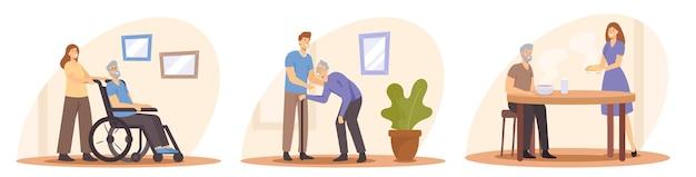 노인 개념의 간병을 설정합니다. 젊은 사람들은 노인을 돌봅니다. 음식을 가져오는 간병인, 걷기 및 휠체어 밀기. 노인 캐릭터에 대한 지원, 지원 및 지원. 만화 벡터 일러스트 레이 션