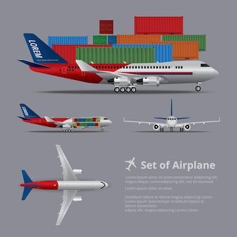Set of cargo ship airplane isolated illustration