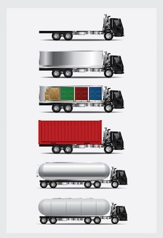 Set of cargo trucks transportation with container isolated