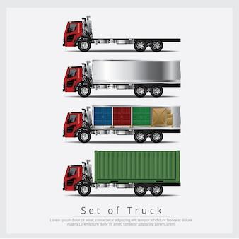 Set of cargo trucks transportation