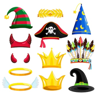 Set of carnival or halloween hats isolated