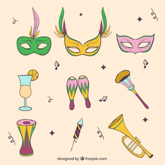 Set of carnival masks and hand drawn objects