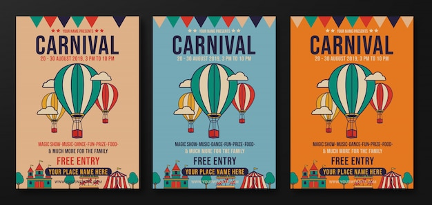 Set of carnival party retro flyer design