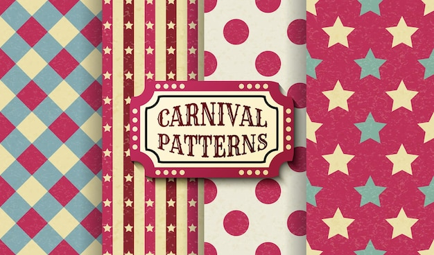 Set of carnival retro vintage seamless patterns. textured old fashioned circus wallpaper templates. collection of vector texture background tiles. for parties, birthdays, decorative elements.