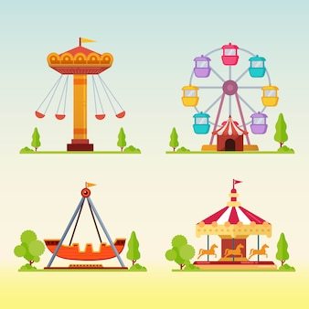 Set of carousels in carnival fun fair