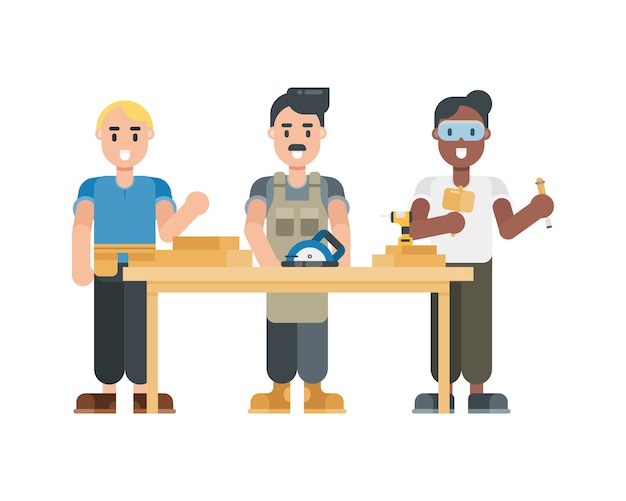 Set of carpenter characters. modern cartoon character in flat style.
