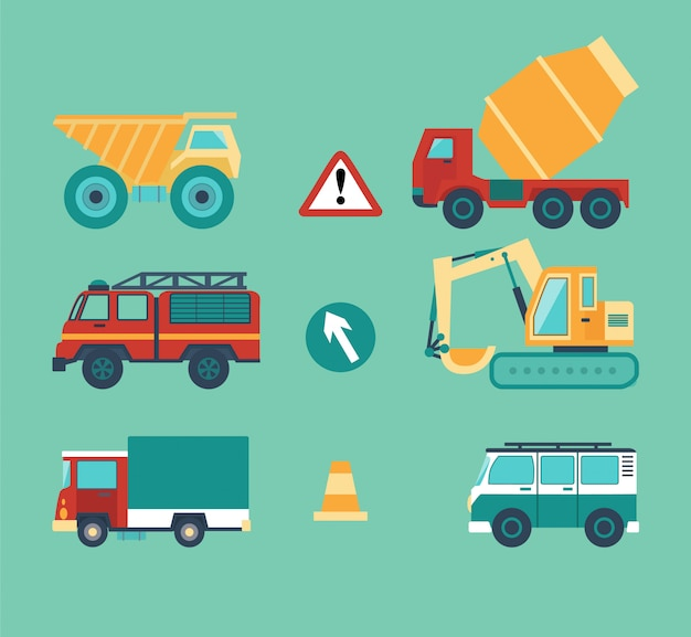 Set of cars for the contraction work, vehicle, road signs.