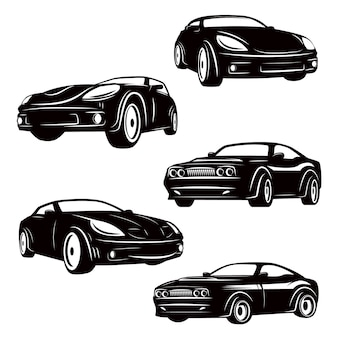 Set of cars icons  on white background.  elements for logo, label, emblem, sign, badge.  illustration
