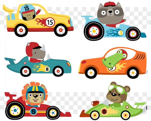 Set of cars race cartoon with funny racer