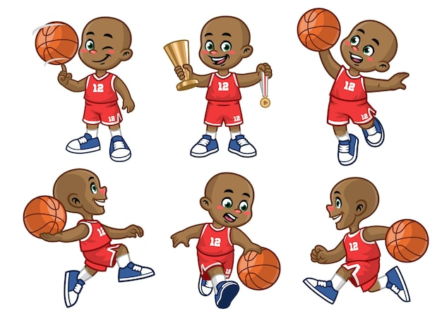Set of cartoon african little boy basketball player