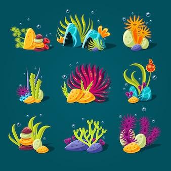 Set of cartoon algae, elements for aquarium decoration