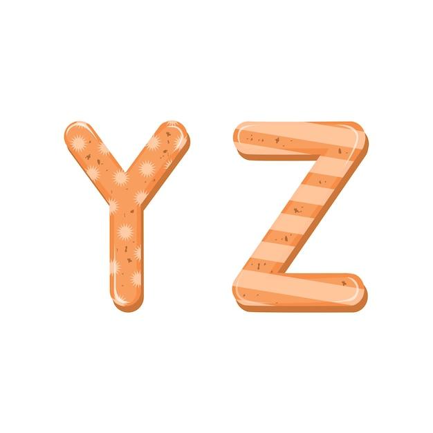 クリスマスまたは新年のアルファベットのジンジャーブレッドクッキーの漫画のアルファベットを釉薬で設定します。