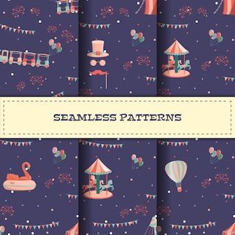 Set of cartoon amusement park seamless patterns