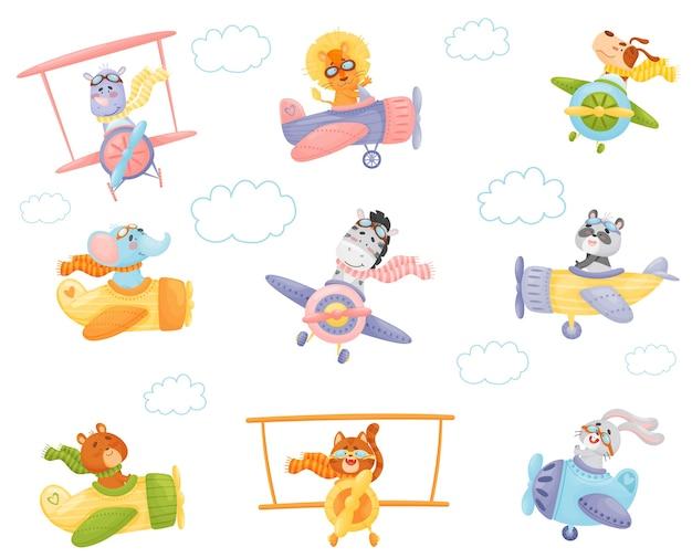 Set of cartoon animals in airplanes