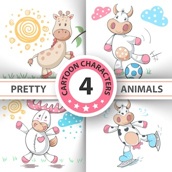 Set cartoon animals