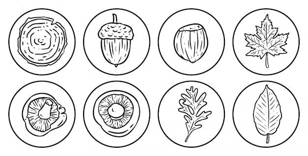 Set of cartoon autumn icons.