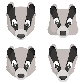 Set of cartoon badgers. different shapes of animal heads.