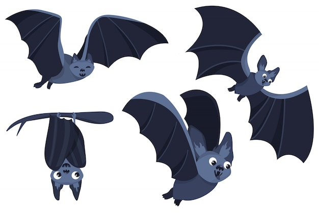 Set of cartoon bats