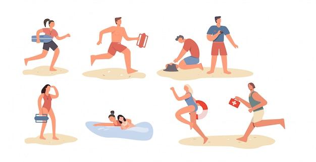 Set of cartoon beach lifeguard people isolated