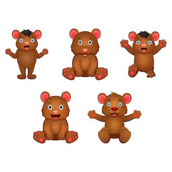 Set of cartoon bear