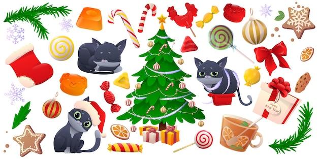 Set of cartoon beatuful christmas elements and decor.