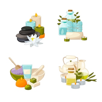 Set of cartoon beauty and spa elements piles
