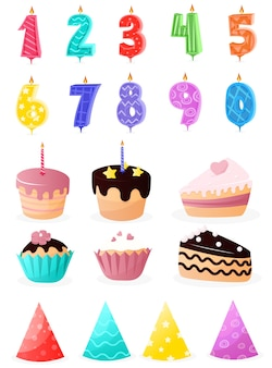Set of cartoon birthday party and decoration elements