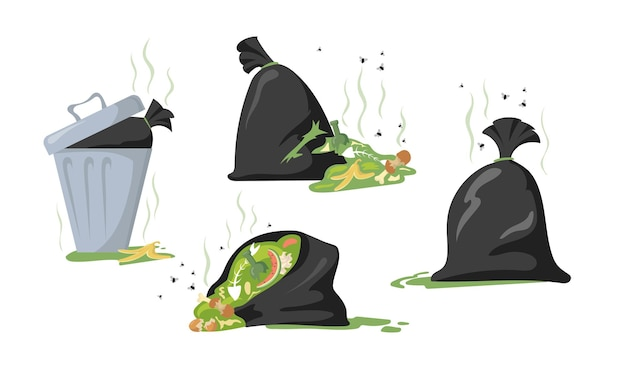 Set of cartoon black bags and dumpsters with trash and garbage. flat illustration