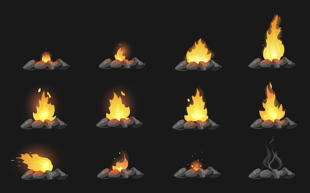 Set of cartoon bonfires with stones on black background